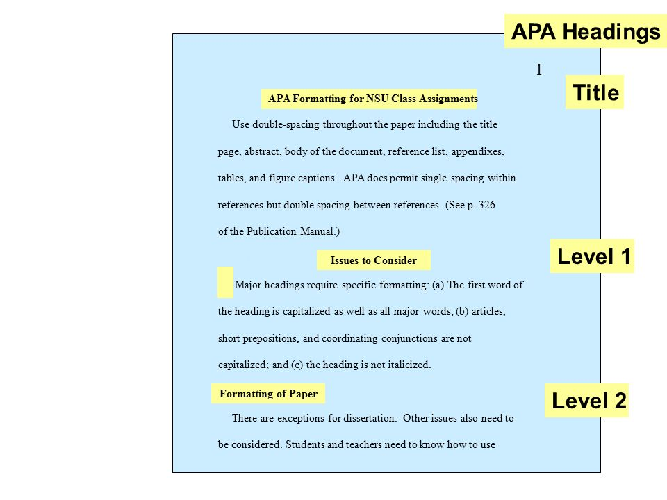 headings in apa papers examples