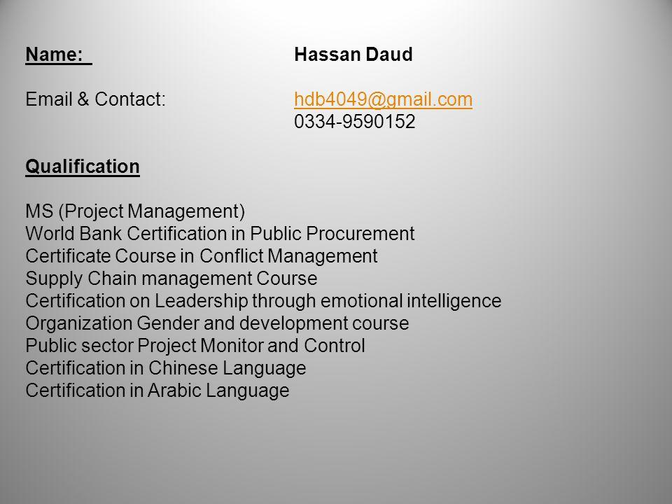 Namehassan Daud Qualification Ms Project Management World Bank