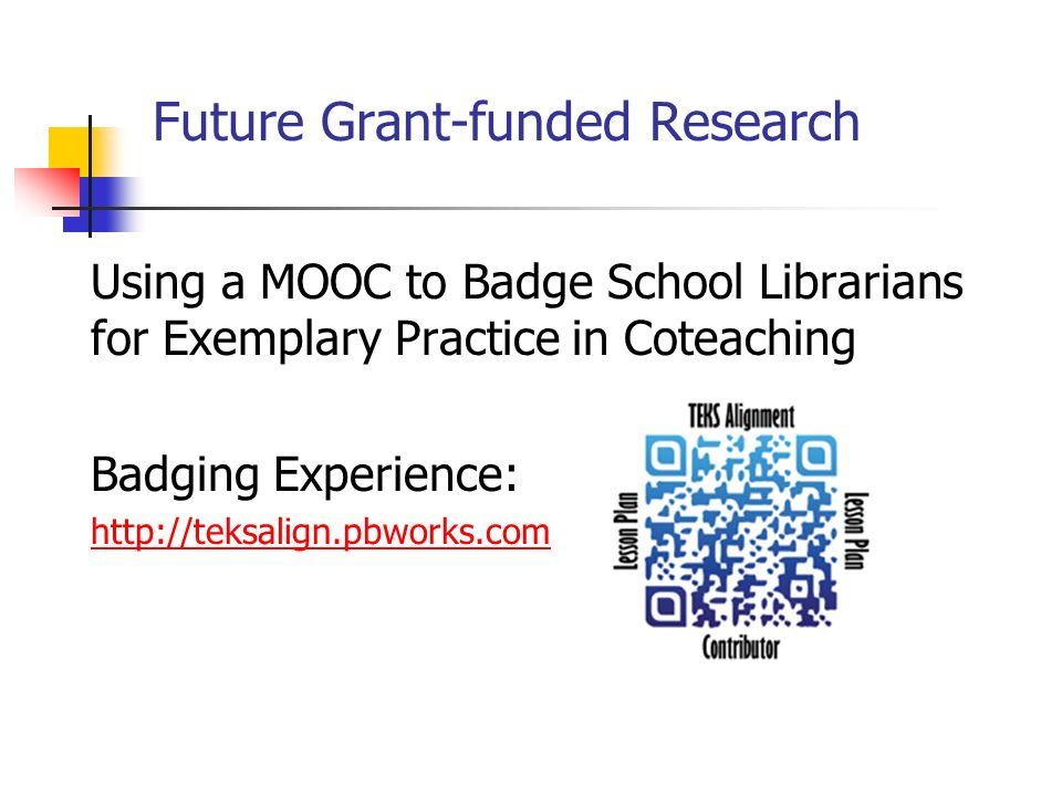 Future Grant-funded Research Using a MOOC to Badge School Librarians for Exemplary Practice in Coteaching Badging Experience: http://teksalign.pbworks.com