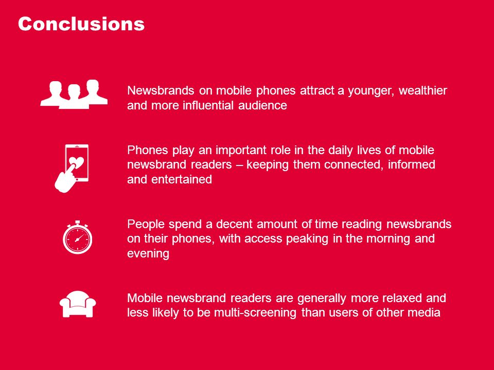 Conclusions Newsbrands on mobile phones attract a younger, wealthier and more influential audience Phones play an important role in the daily lives of mobile newsbrand readers – keeping them connected, informed and entertained People spend a decent amount of time reading newsbrands on their phones, with access peaking in the morning and evening Mobile newsbrand readers are generally more relaxed and less likely to be multi-screening than users of other media