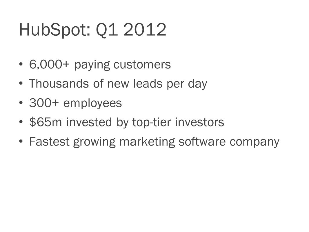 HubSpot: Q ,000+ paying customers Thousands of new leads per day 300+ employees $65m invested by top-tier investors Fastest growing marketing software company