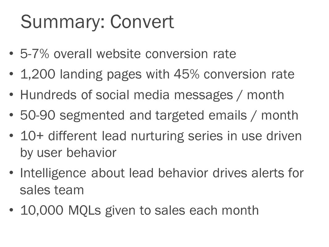 Summary: Convert 5-7% overall website conversion rate 1,200 landing pages with 45% conversion rate Hundreds of social media messages / month segmented and targeted  s / month 10+ different lead nurturing series in use driven by user behavior Intelligence about lead behavior drives alerts for sales team 10,000 MQLs given to sales each month