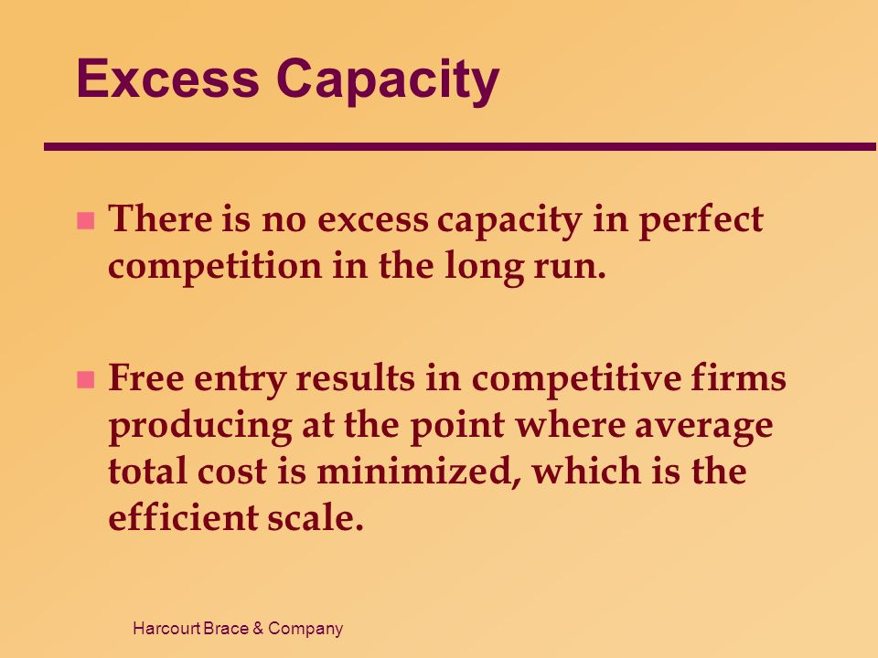 Harcourt Brace & Company Excess Capacity n There is no excess capacity in perfect competition in the long run.