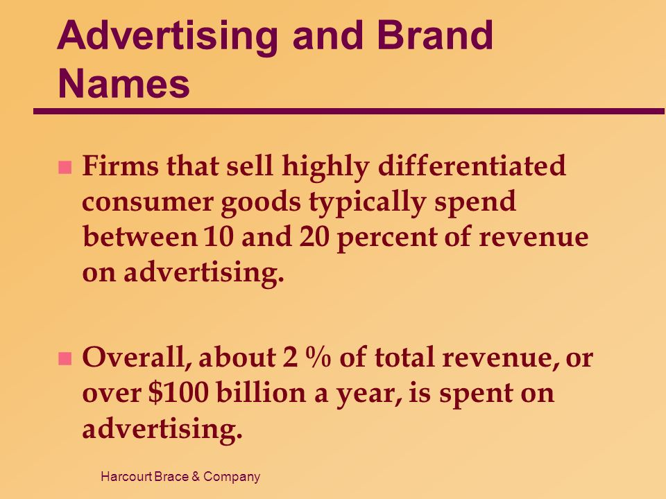Harcourt Brace & Company Advertising and Brand Names n Firms that sell highly differentiated consumer goods typically spend between 10 and 20 percent of revenue on advertising.