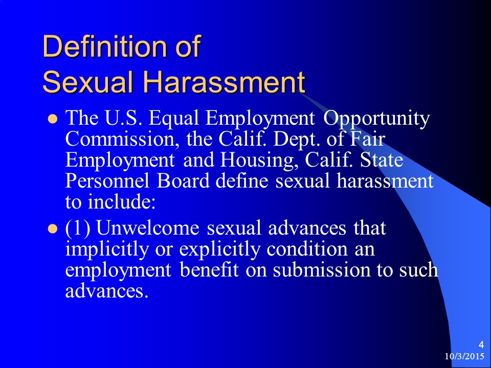 Define sexual harassment state of california