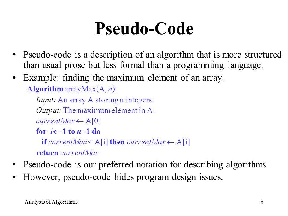 Analysis Of Algorithms1 Running Time Pseudo Code Analysis Of