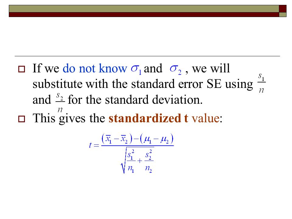  If we do not know and, we will substitute with the standard error SE using and for the standard deviation.