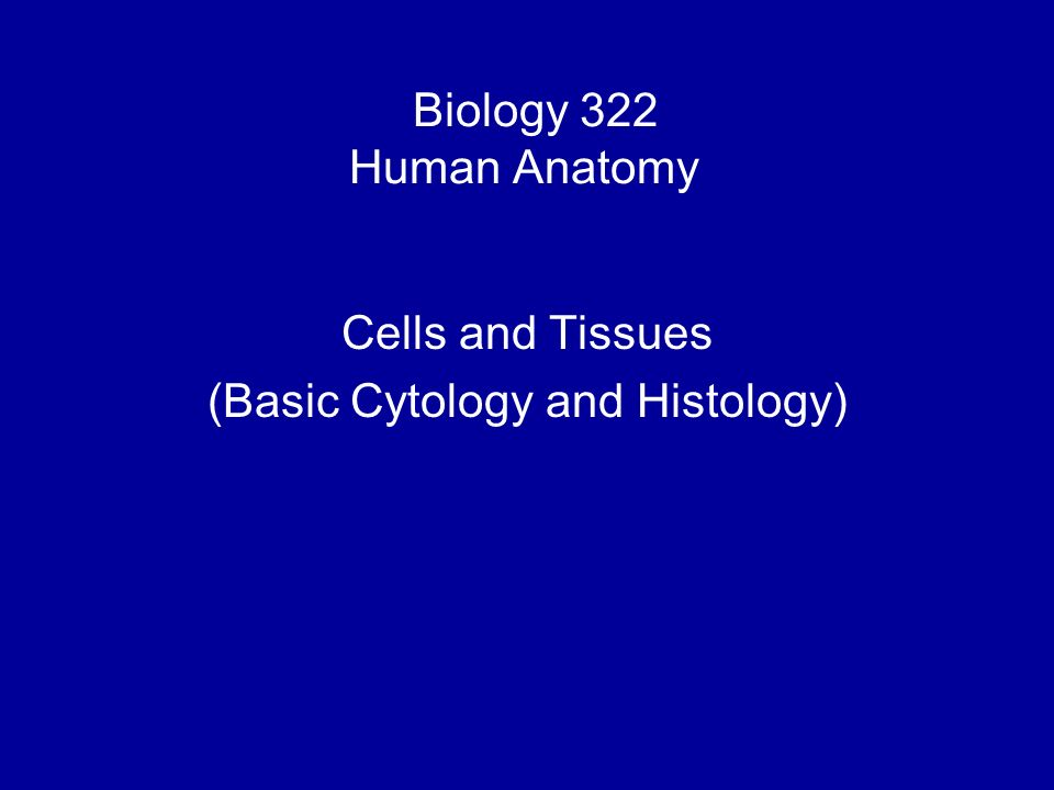 Biology 322 Human Anatomy I Cells And Tissues Basic Cytology And