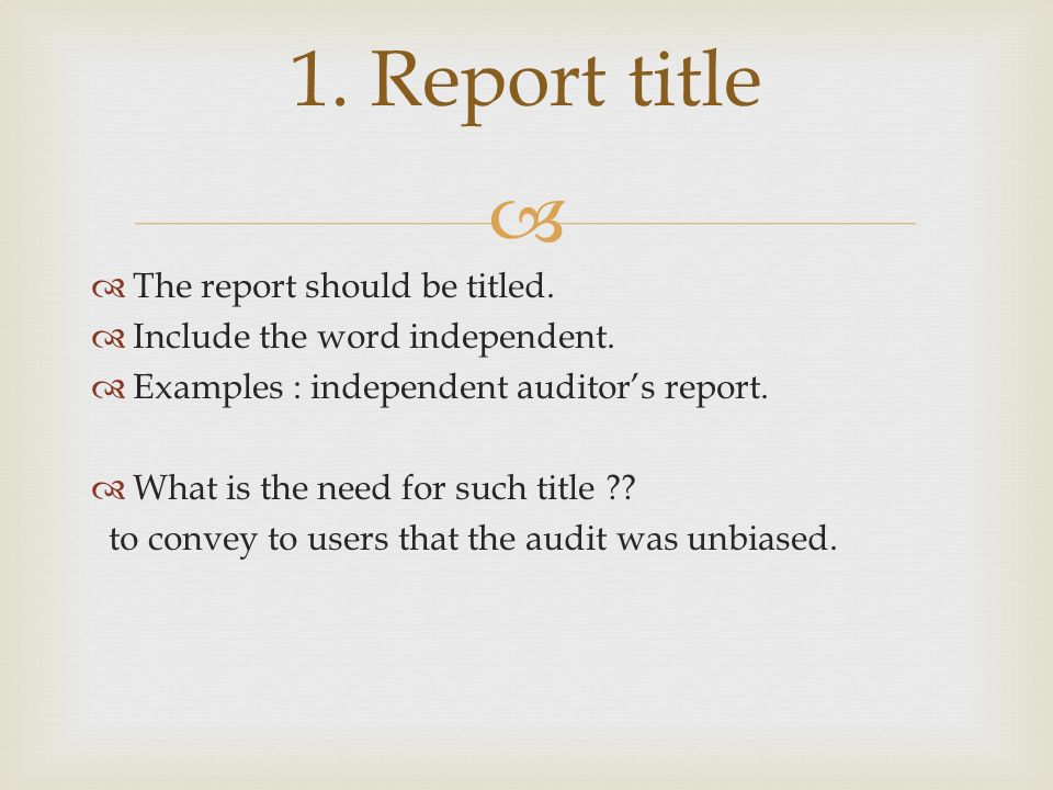 Audit Reports Chapter 3 1 Report Title 2 Audit Report