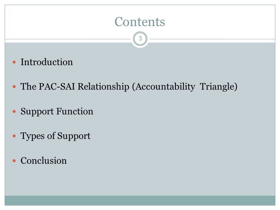 Contents Introduction The PAC-SAI Relationship (Accountability Triangle) Support Function Types of Support Conclusion 3