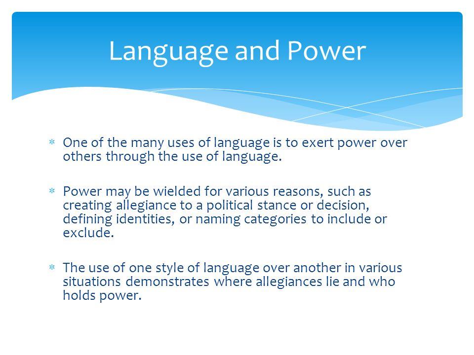 IB English Language and Literature Language and Power  - ppt
