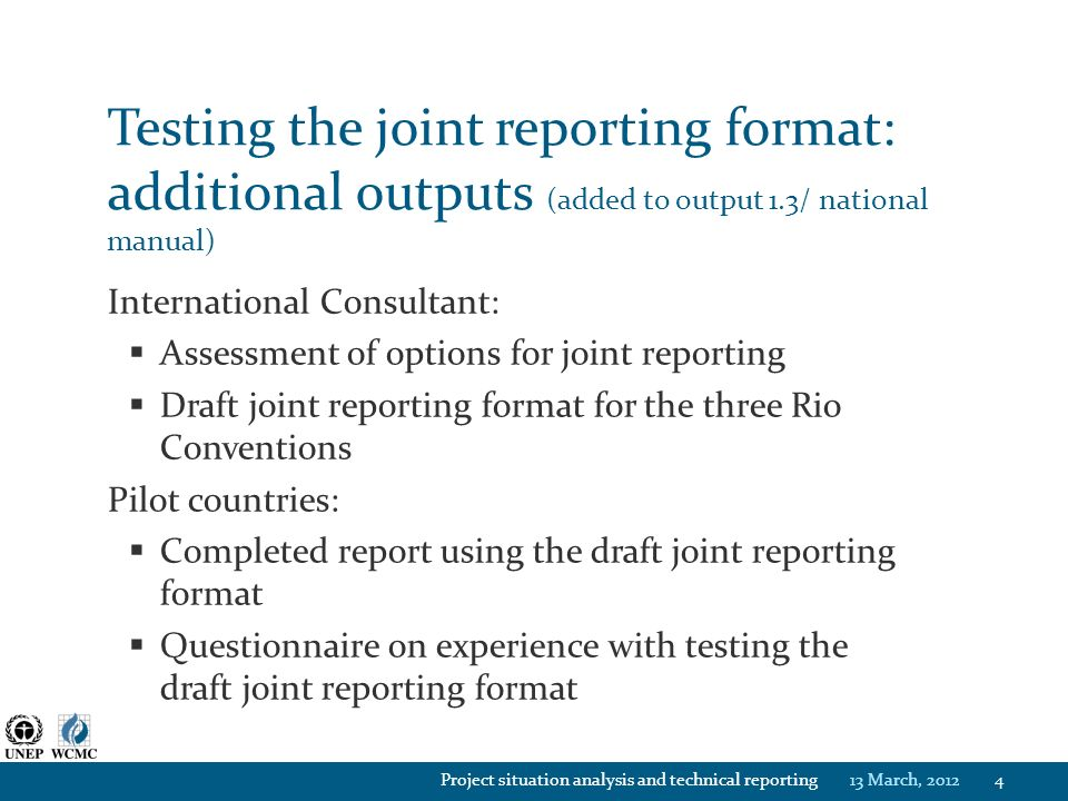 project situation analysis and technical reporting unep gef fnr rio