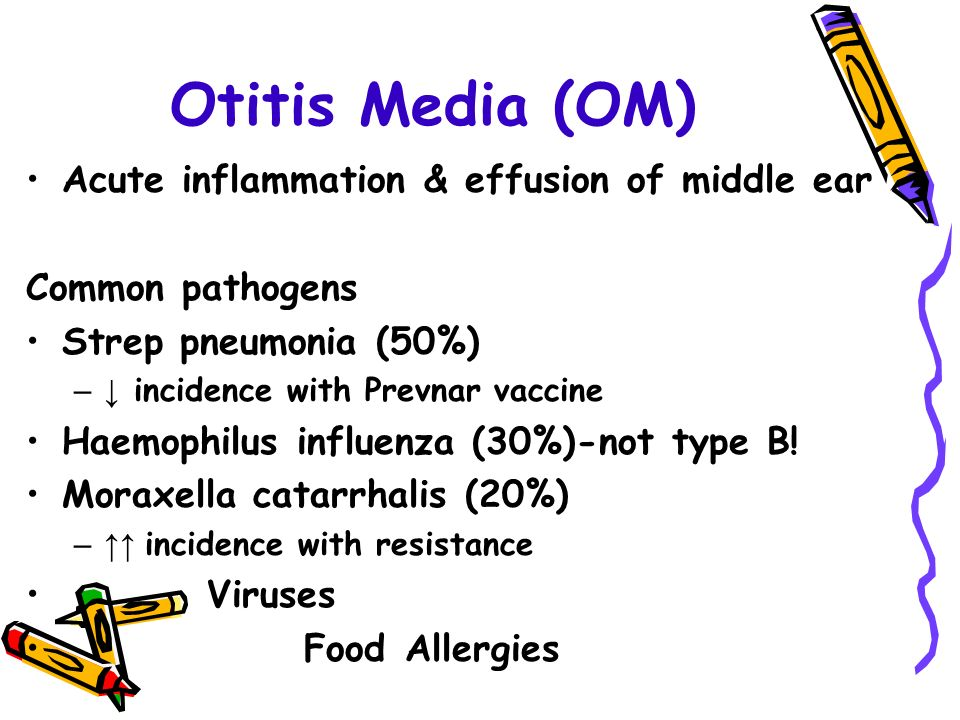 Otitis Media (OM) Acute inflammation & effusion of middle ear Common pathogens Strep pneumonia (50%) –↓ incidence with Prevnar vaccine Haemophilus influenza (30%)-not type B.