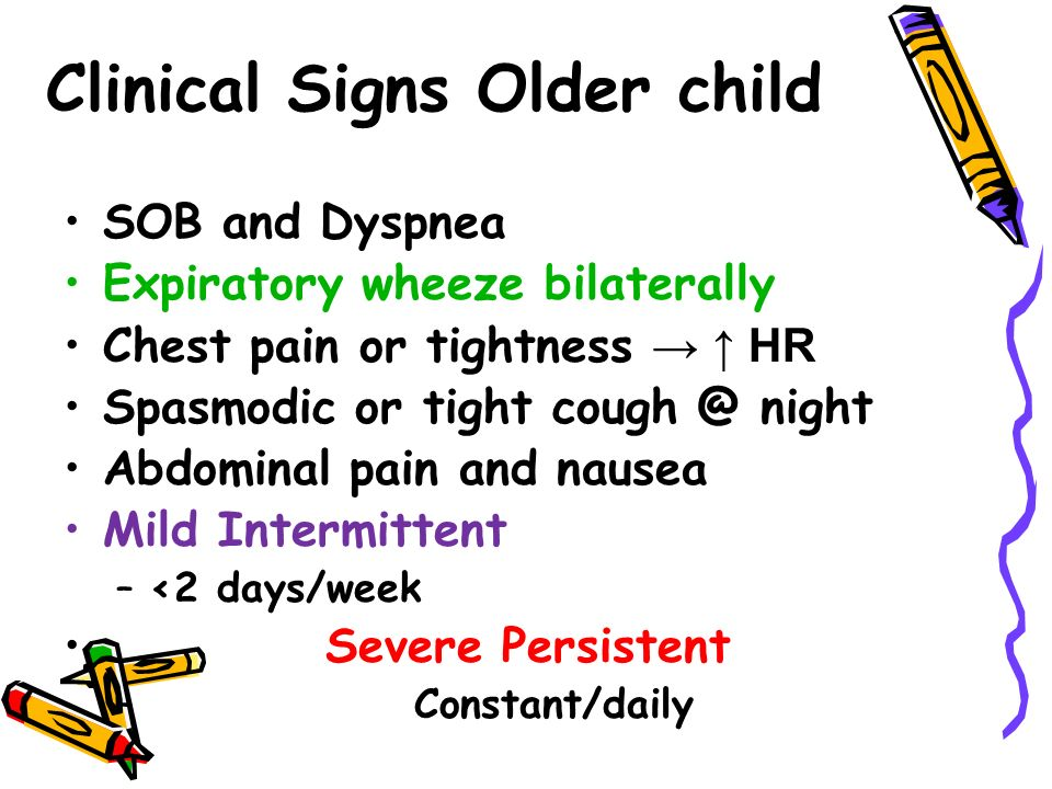 Clinical Signs Older child SOB and Dyspnea Expiratory wheeze bilaterally Chest pain or tightness → ↑ HR Spasmodic or tight night Abdominal pain and nausea Mild Intermittent –<2 days/week Severe Persistent – Constant/daily