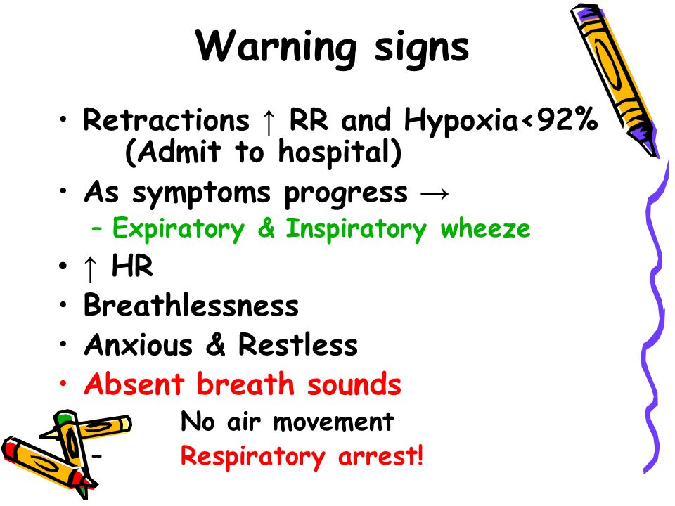 Warning signs Retractions ↑ RR and Hypoxia<92% (Admit to hospital) As symptoms progress → –Expiratory & Inspiratory wheeze ↑ HR Breathlessness Anxious & Restless Absent breath sounds – No air movement – Respiratory arrest!