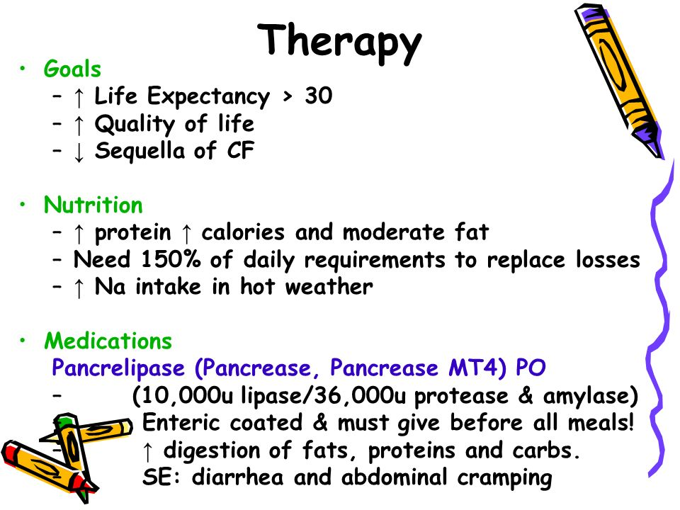 Therapy Goals – ↑ Life Expectancy > 30 – ↑ Quality of life – ↓ Sequella of CF Nutrition – ↑ protein ↑ calories and moderate fat –Need 150% of daily requirements to replace losses – ↑ Na intake in hot weather Medications Pancrelipase (Pancrease, Pancrease MT4) PO – (10,000u lipase/36,000u protease & amylase) – Enteric coated & must give before all meals.