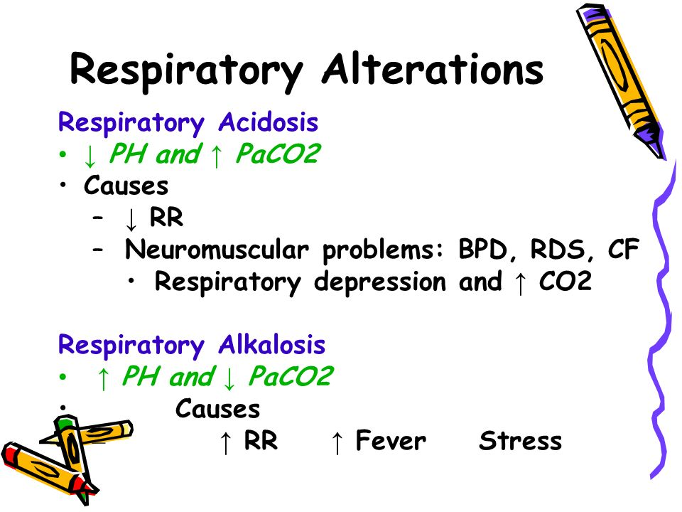 Respiratory Alterations Respiratory Acidosis ↓ PH and ↑ PaCO2 Causes – ↓ RR – Neuromuscular problems: BPD, RDS, CF Respiratory depression and ↑ CO2 Respiratory Alkalosis ↑ PH and ↓ PaCO2 Causes – ↑ RR ↑ Fever Stress