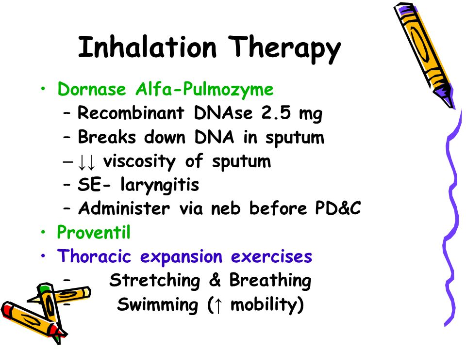 Inhalation Therapy Dornase Alfa-Pulmozyme –Recombinant DNAse 2.5 mg –Breaks down DNA in sputum –↓↓ viscosity of sputum –SE- laryngitis –Administer via neb before PD&C Proventil Thoracic expansion exercises – Stretching & Breathing – Swimming ( ↑ mobility)