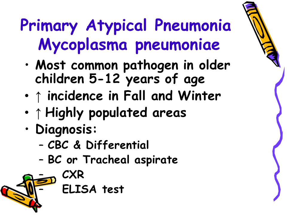 Primary Atypical Pneumonia Mycoplasma pneumoniae Most common pathogen in older children 5-12 years of age ↑ incidence in Fall and Winter ↑ Highly populated areas Diagnosis: –CBC & Differential –BC or Tracheal aspirate – CXR – ELISA test