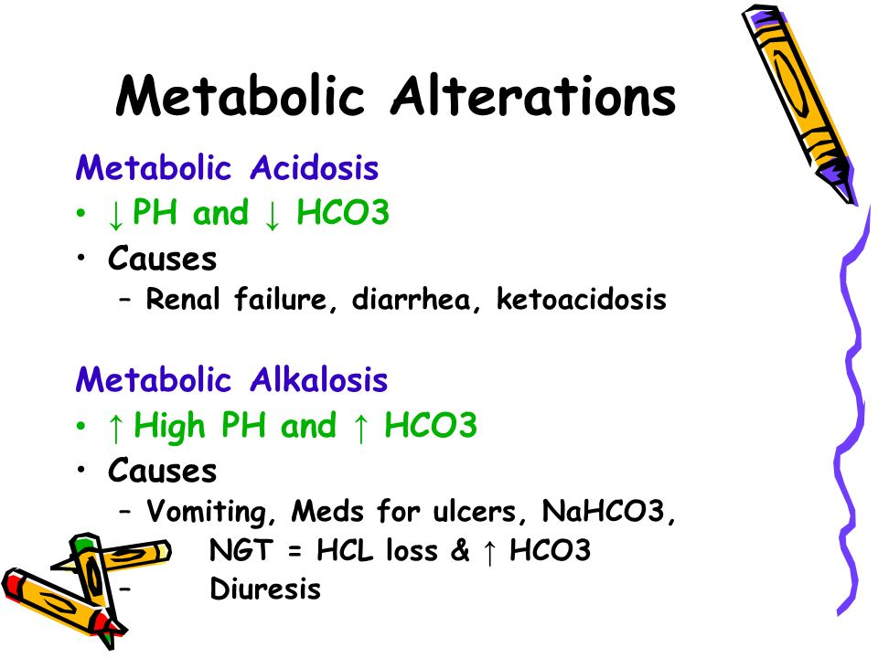 Metabolic Alterations Metabolic Acidosis ↓ PH and ↓ HCO3 Causes –Renal failure, diarrhea, ketoacidosis Metabolic Alkalosis ↑ High PH and ↑ HCO3 Causes –Vomiting, Meds for ulcers, NaHCO3, – NGT = HCL loss & ↑ HCO3 – Diuresis