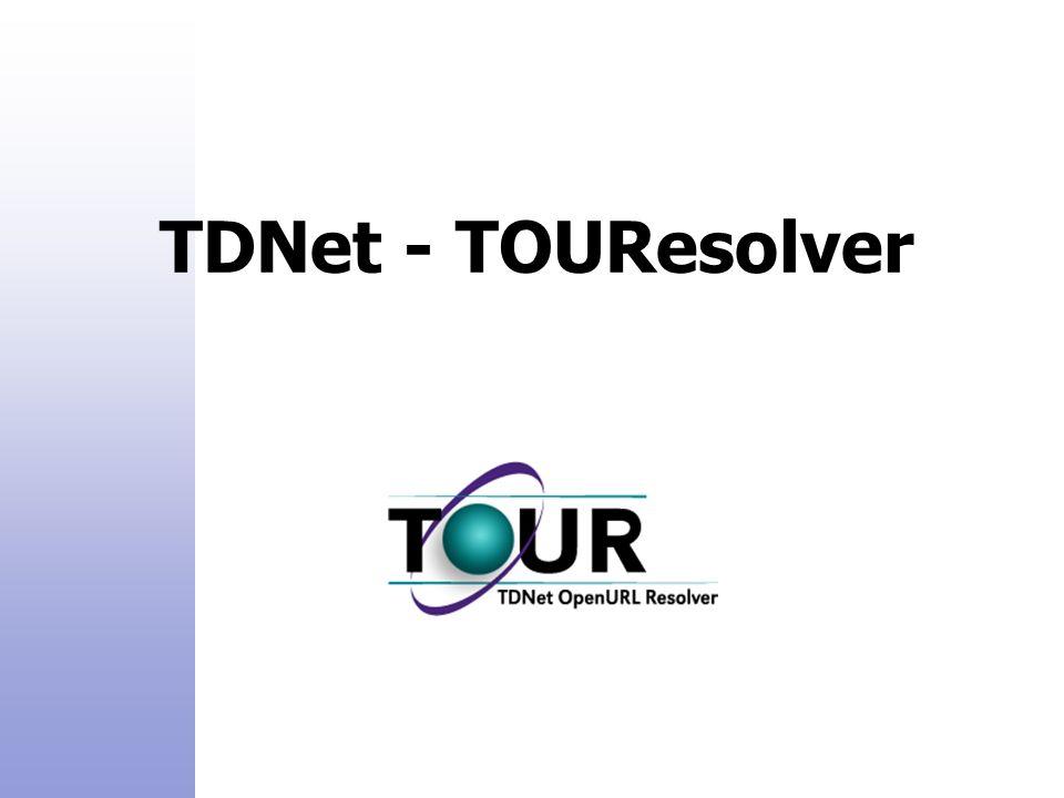 TDNet - TOUResolver  TDNet Product Family: TDNet - Electronic