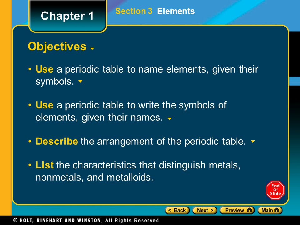 Preview objectives introduction to the periodic table types of objectives use a periodic table to name elements given their symbols urtaz Images