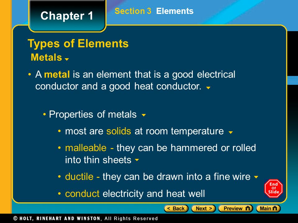 Preview Objectives Introduction to the Periodic Table Types of ...