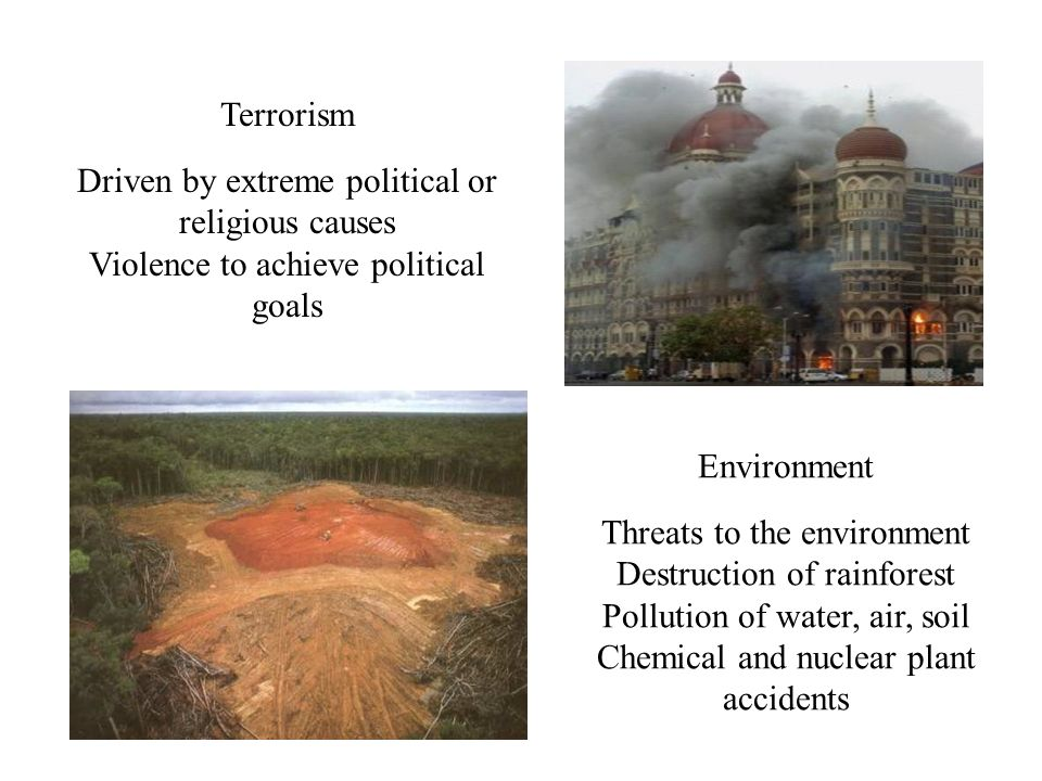 Terrorism Driven by extreme political or religious causes Violence to achieve political goals Environment Threats to the environment Destruction of rainforest Pollution of water, air, soil Chemical and nuclear plant accidents