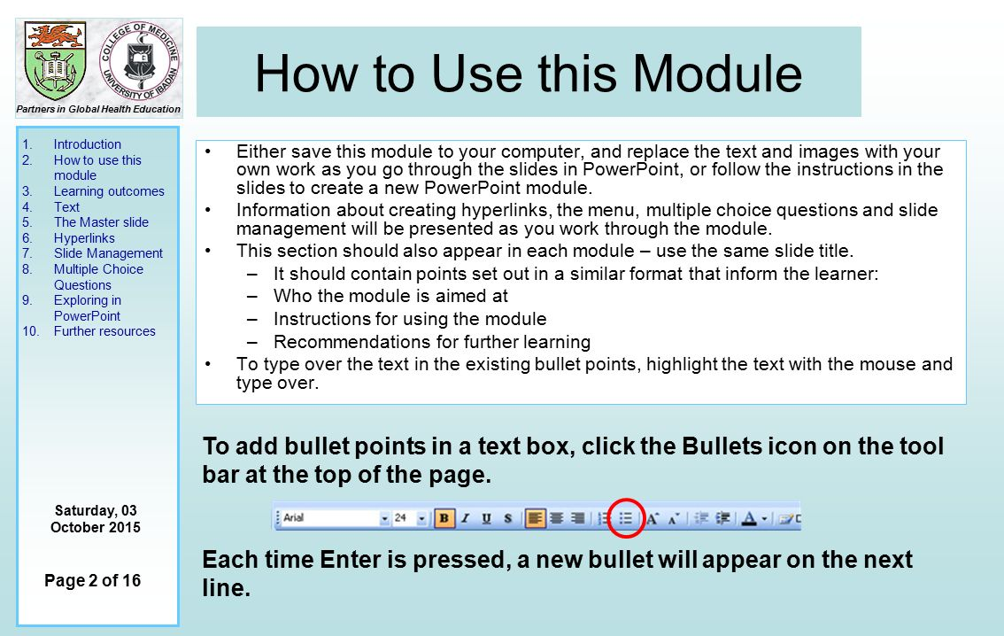 1 Introduction 2 How to use this module 3 Learning outcomes