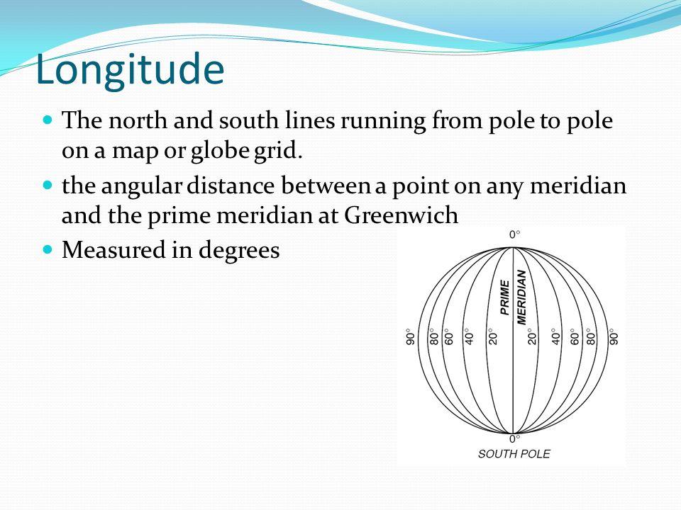 Longitude The north and south lines running from pole to pole on a map or globe grid.