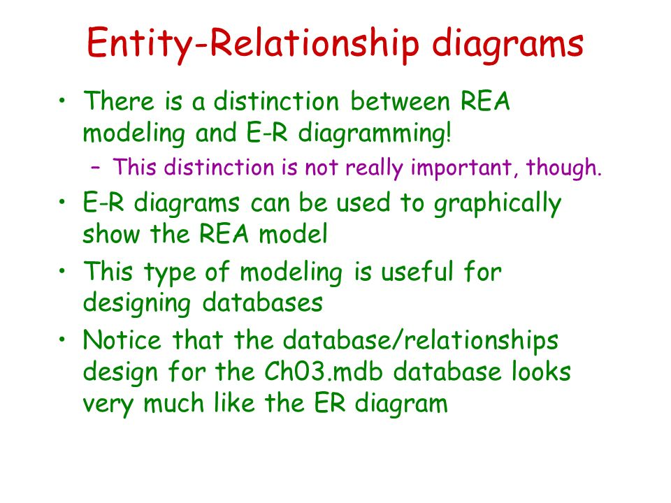 Rea analysis and e r diagramming december 2 ppt download entity relationship diagrams there is a distinction between rea modeling and e r diagramming ccuart Gallery