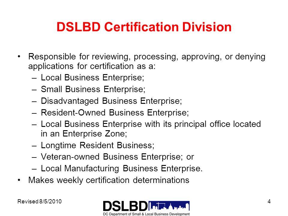 Revised 8520101 Certified Business Enterprise Program Department