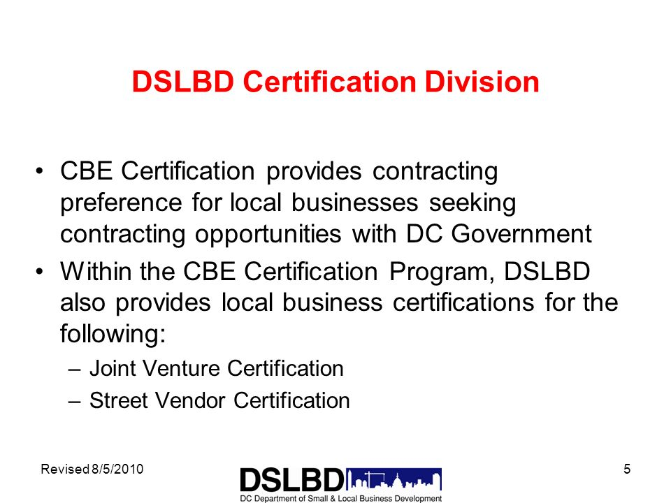 Revised 8520101 Certified Business Enterprise Program Department
