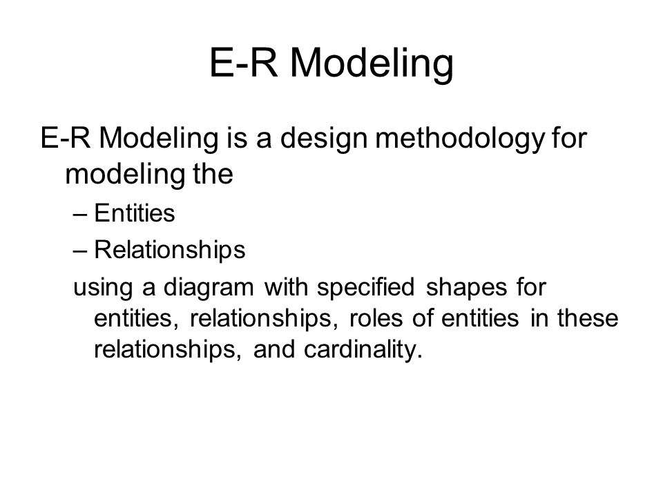 Conceptual modeling with er diagrams peter chen introduced er 2 e r modeling e r modeling is a design methodology for modeling the entities relationships using a diagram with specified shapes for entities ccuart Images