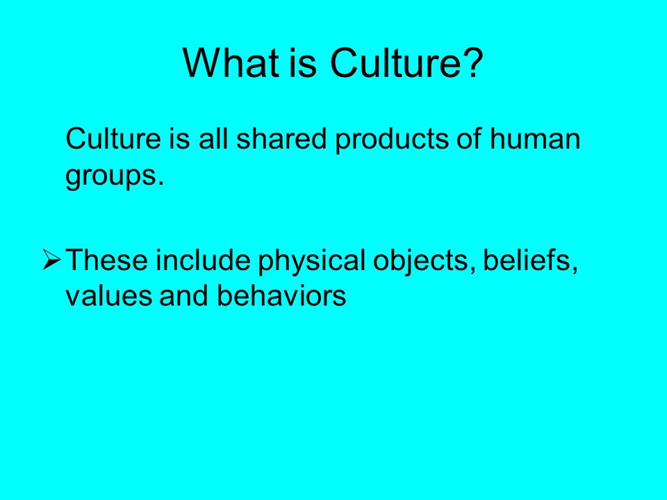 What is Culture. Culture is all shared products of human groups.