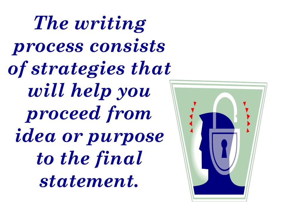 The writing process consists of strategies that will help you proceed from idea or purpose to the final statement.