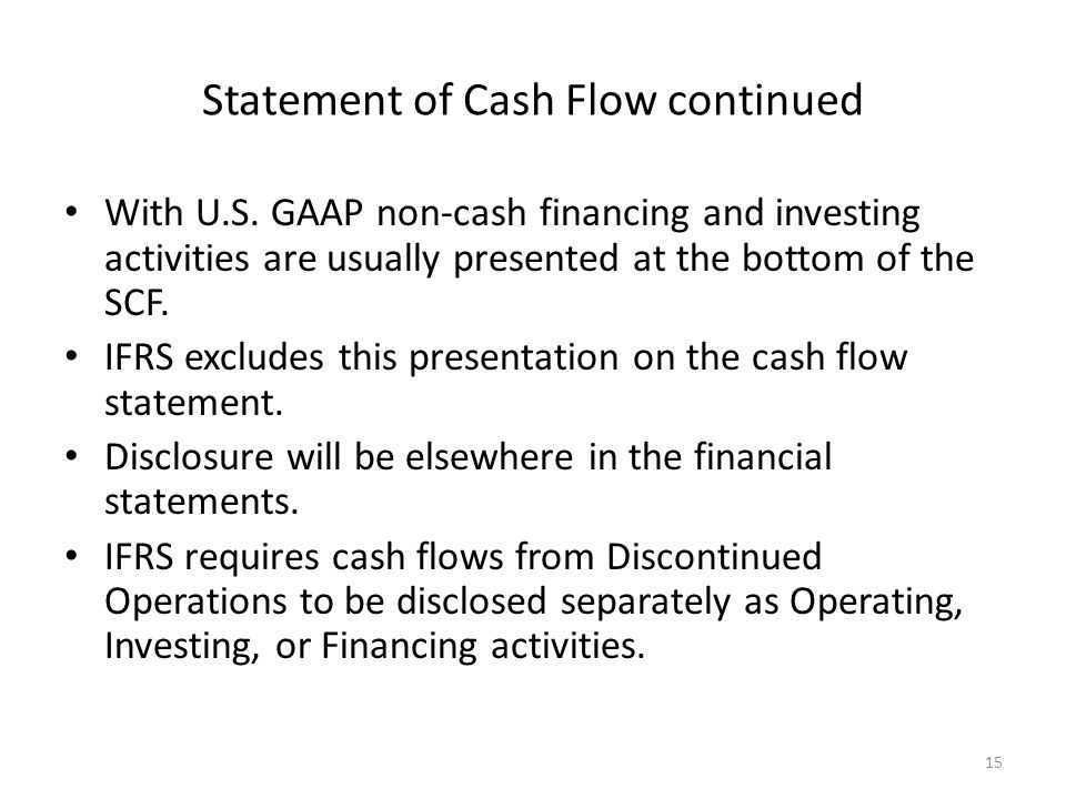 Statement of Cash Flow continued With U.S.