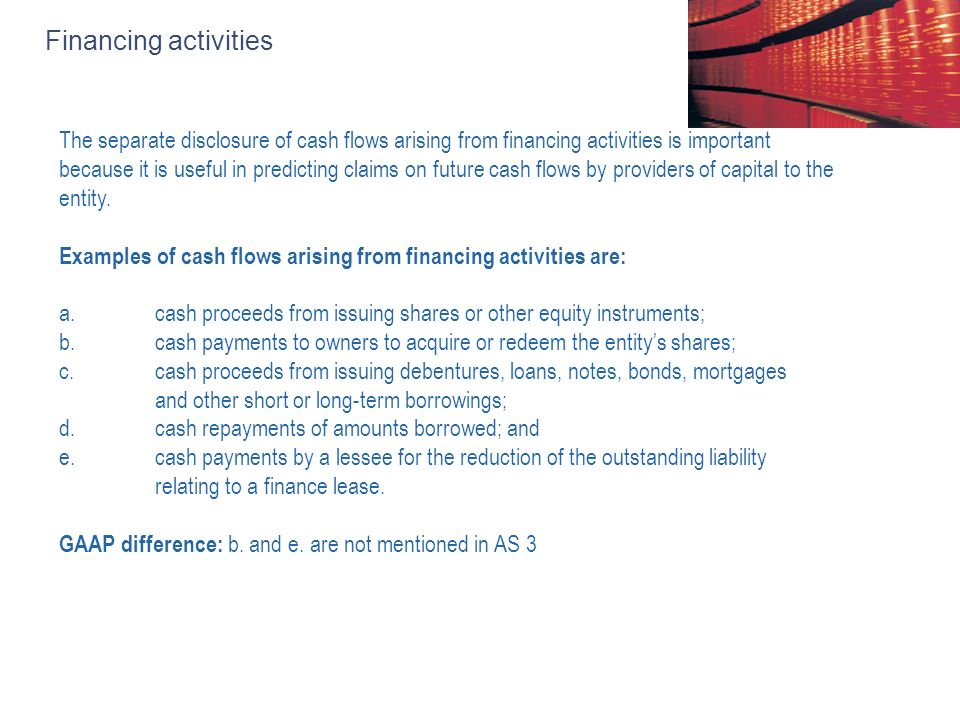 Financing activities The separate disclosure of cash flows arising from financing activities is important because it is useful in predicting claims on future cash flows by providers of capital to the entity.