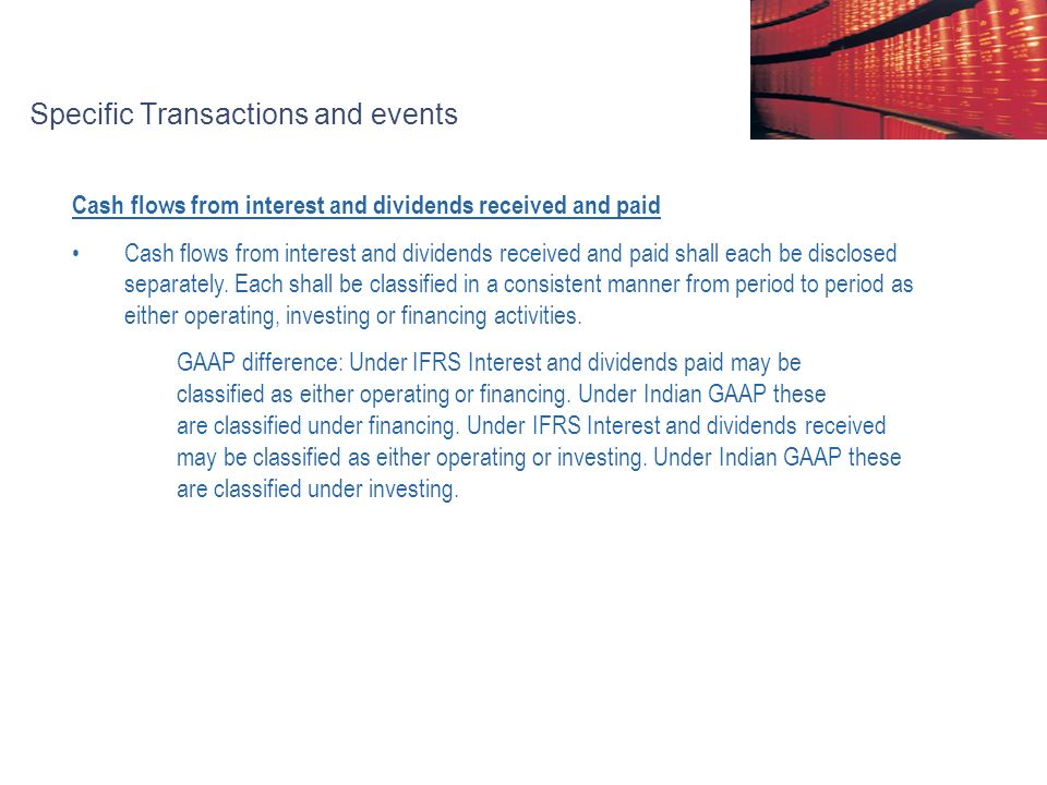 Specific Transactions and events Cash flows from interest and dividends received and paid Cash flows from interest and dividends received and paid shall each be disclosed separately.