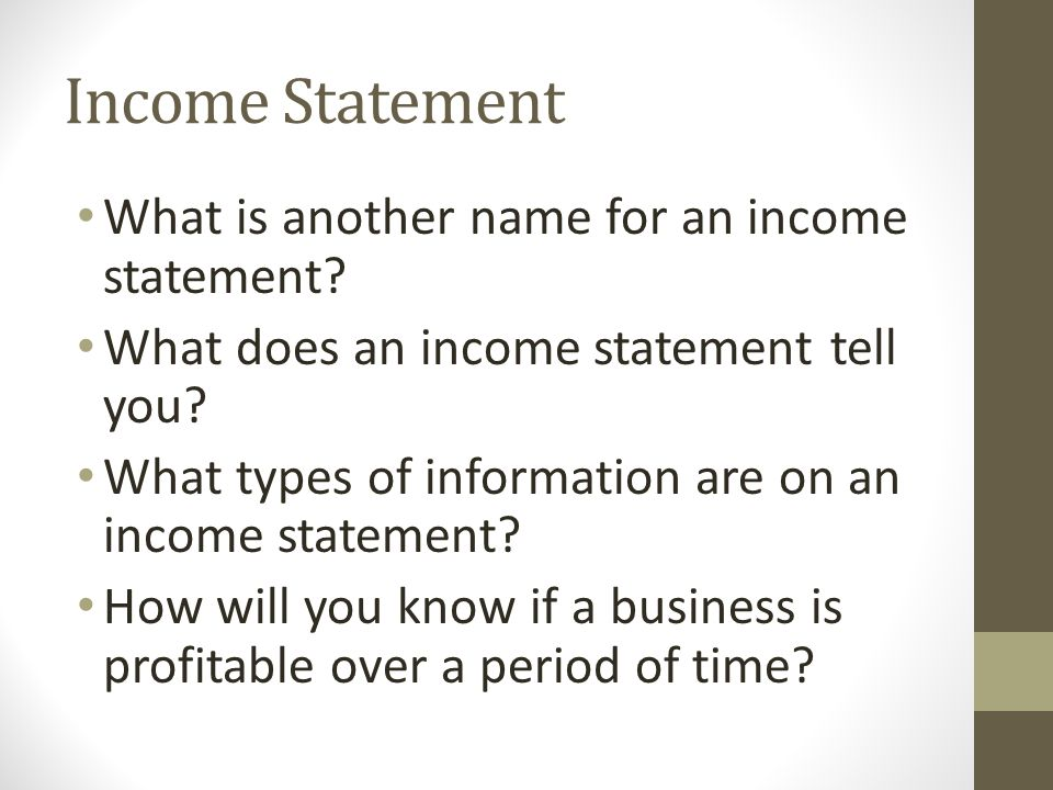 financial statements q a name a type of financial statement ppt