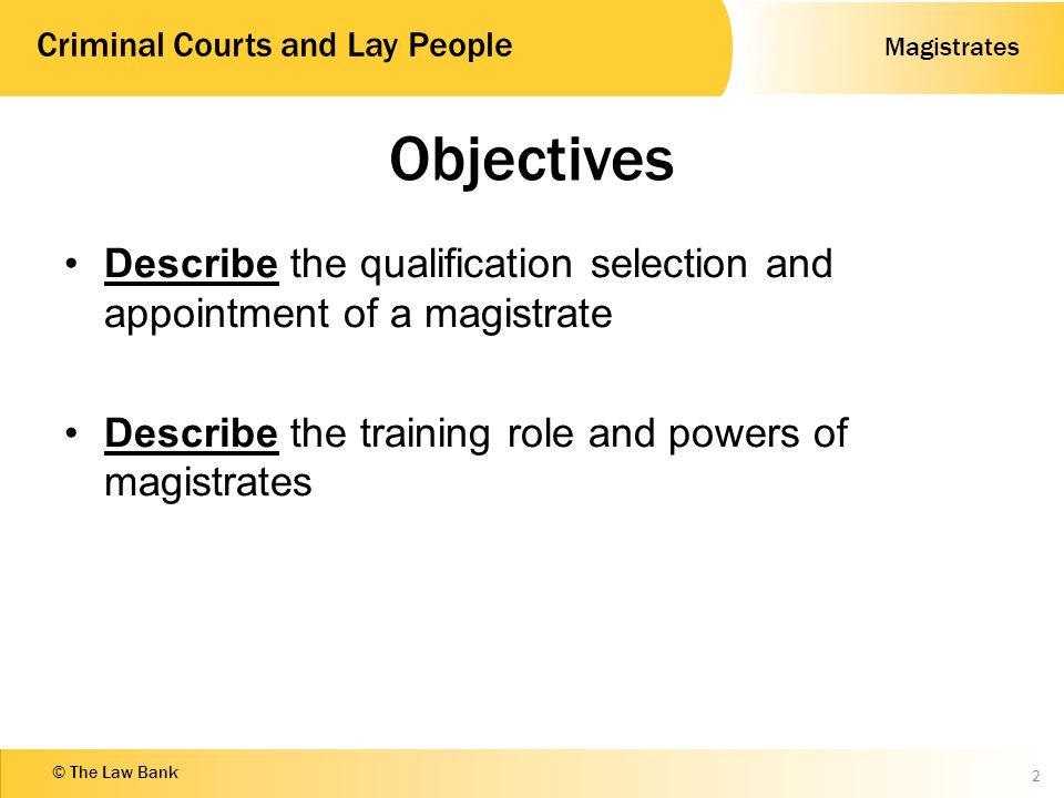 selection and appointment of magistrates