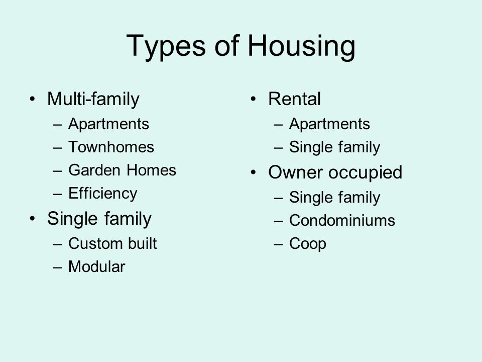 2 Types Of Housing Multi Family Apartments Townhomes Garden Homes Efficiency Single Custom Built Modular Al