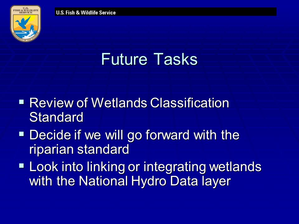 Future Tasks  Review of Wetlands Classification Standard  Decide if we will go forward with the riparian standard  Look into linking or integrating wetlands with the National Hydro Data layer