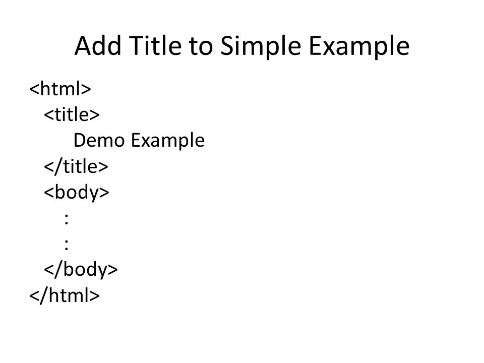 Add Title to Simple Example Demo Example :