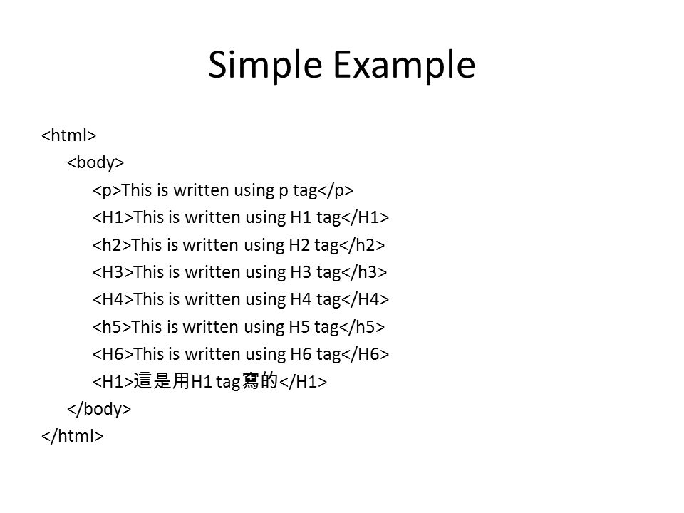 Simple Example This is written using p tag This is written using H1 tag This is written using H2 tag This is written using H3 tag This is written using H4 tag This is written using H5 tag This is written using H6 tag 這是用 H1 tag 寫的