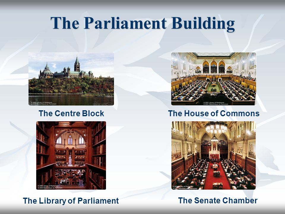 The Parliament Building The Centre BlockThe House of Commons The Senate Chamber The Library of Parliament