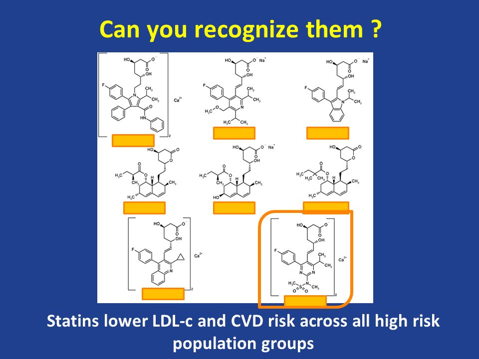 Can you recognize them Statins lower LDL-c and CVD risk across all high risk population groups