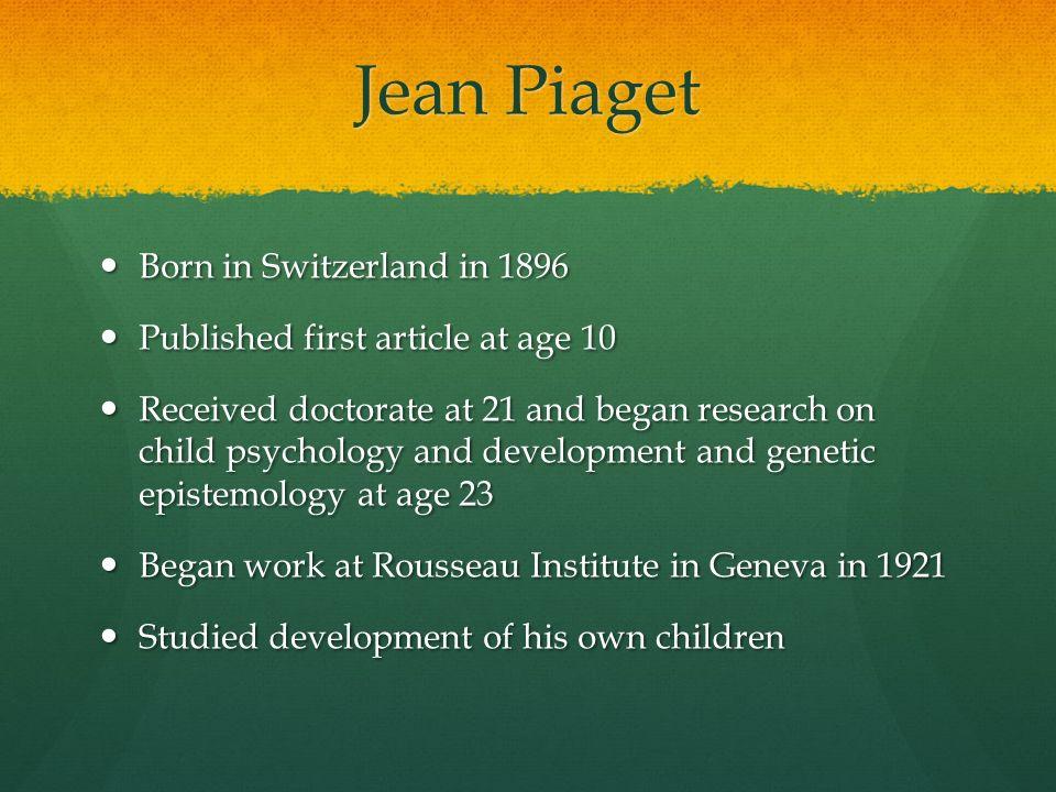 articles written by jean piaget