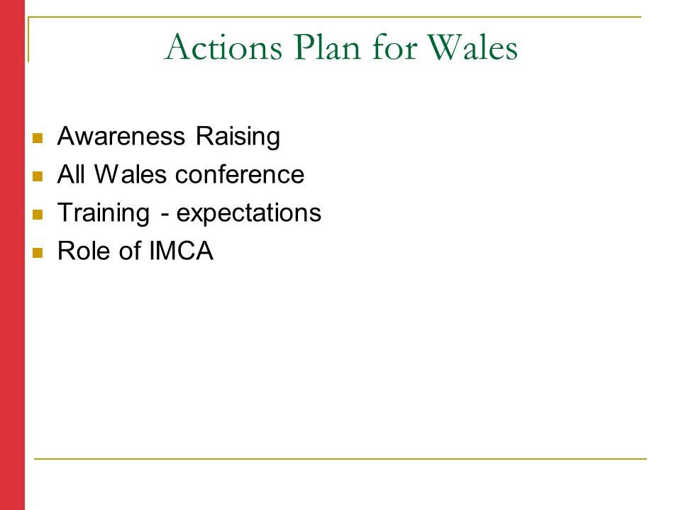 Awareness Raising All Wales conference Training - expectations Role of IMCA Actions Plan for Wales