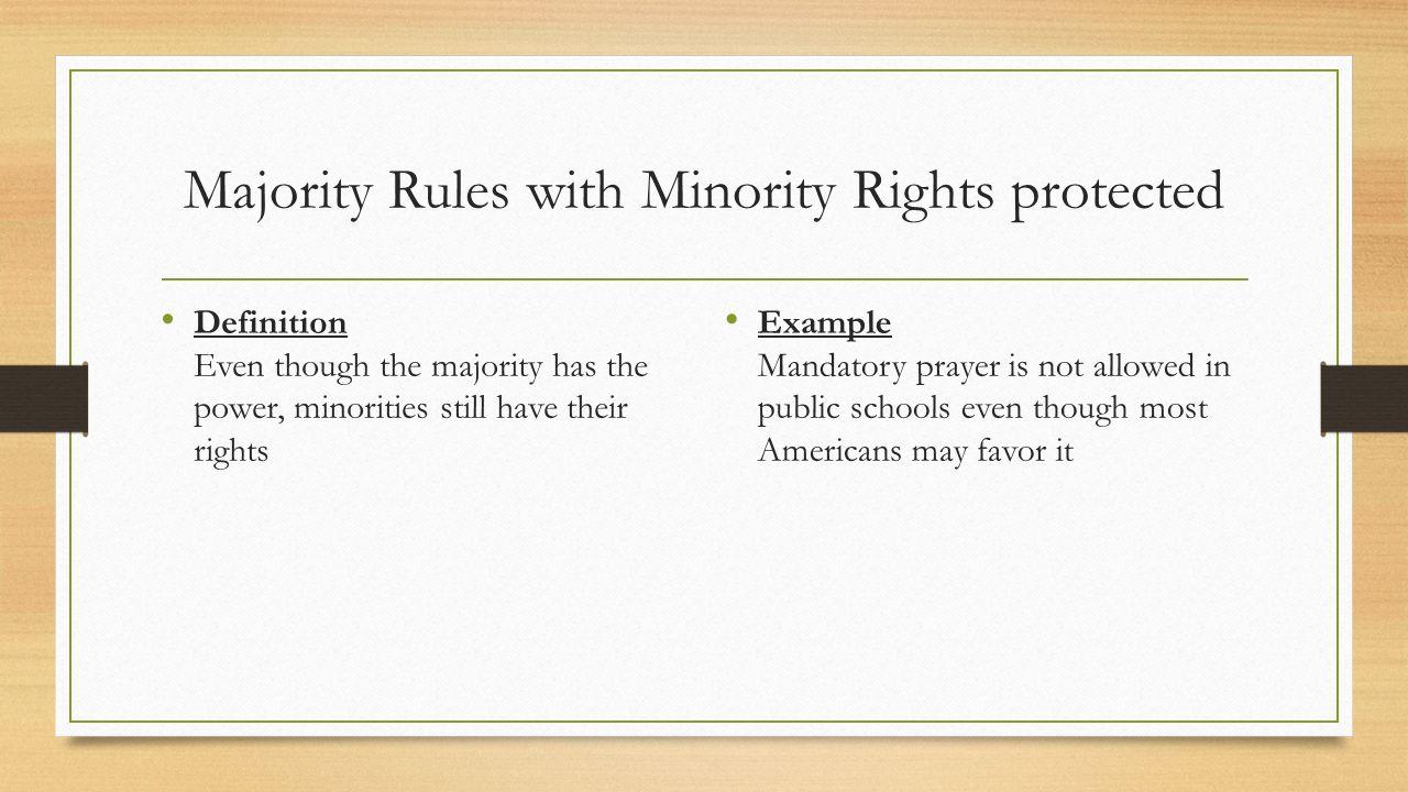 majority rule minority rights examples